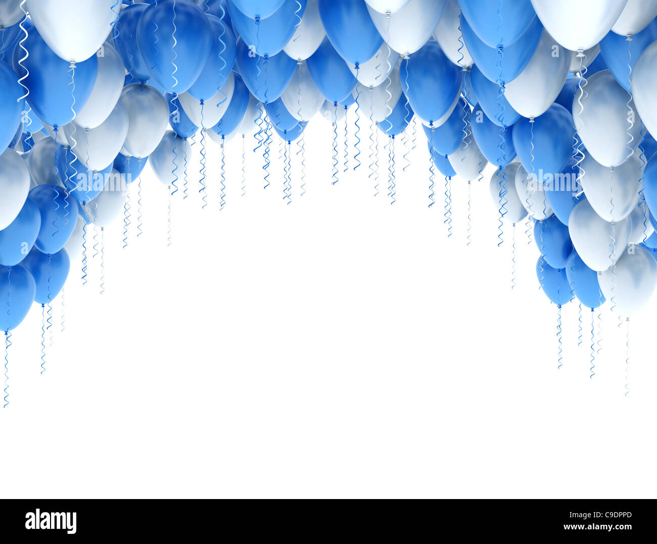 blue and white party balloons frame on white background