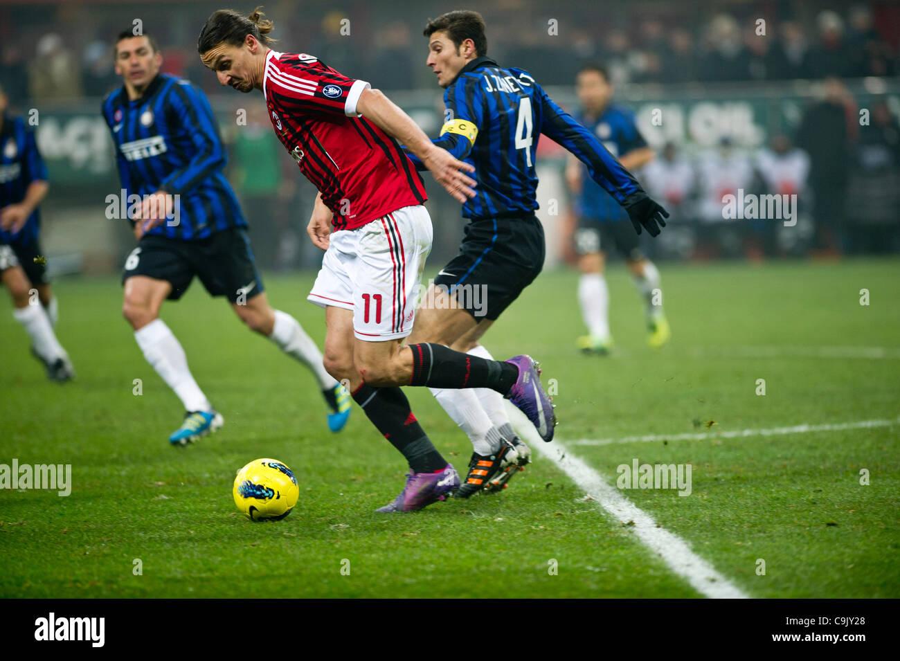 Zlatan Ibrahimovic Milan Javier Zanetti Inter JANUARY 15
