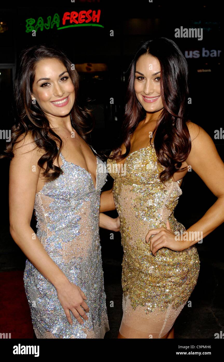 brie bella nikki bella at arrivals for this means war premiere stock photo royalty free image. Black Bedroom Furniture Sets. Home Design Ideas