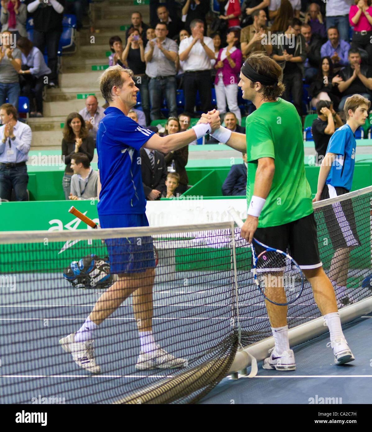ZURICH SWITZERLAND MARCH 24 Trophy Ceremony for Carlos Moya and