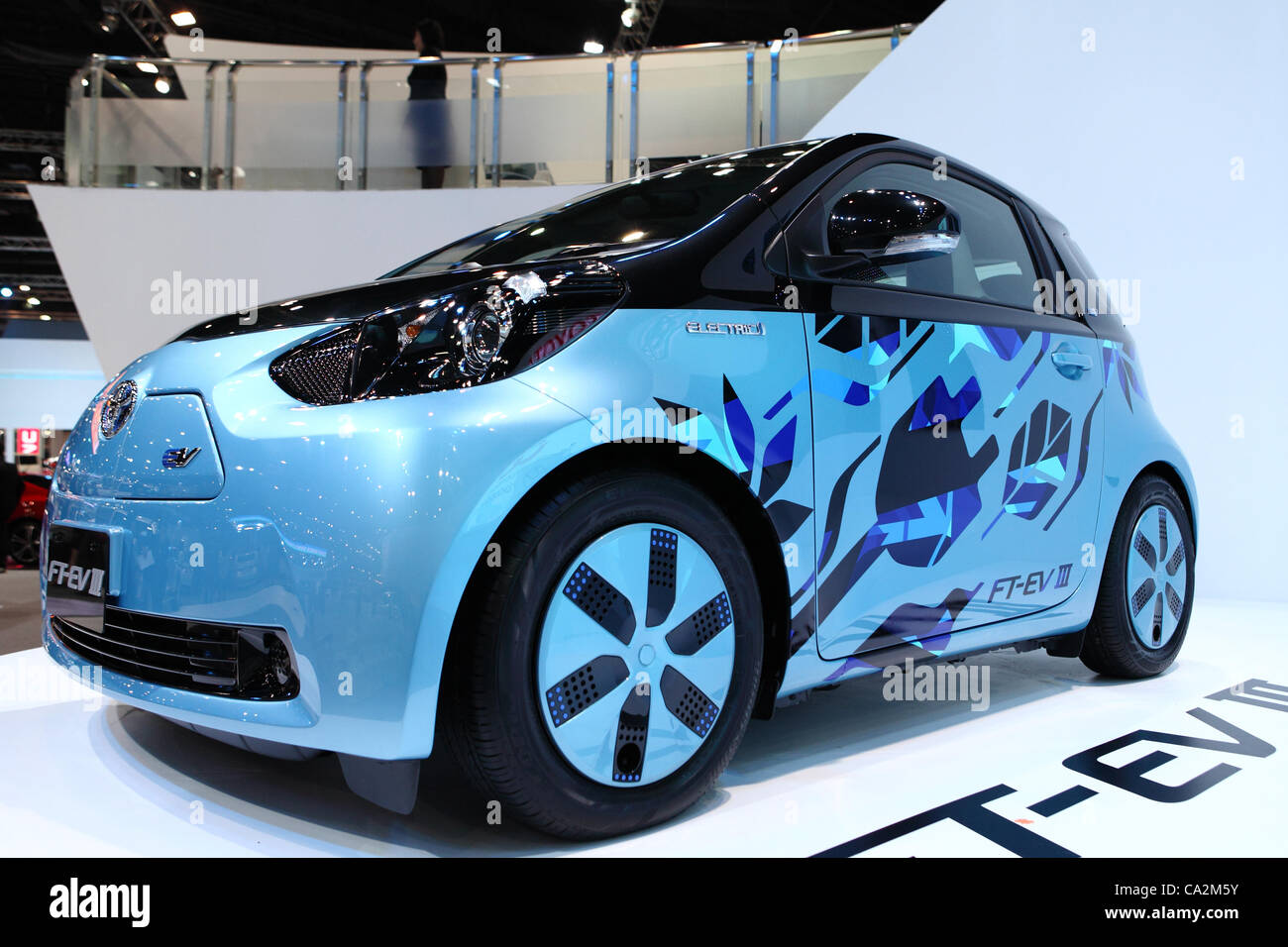 An electric car from Toyota Motor Corporation is on display at Stock ...