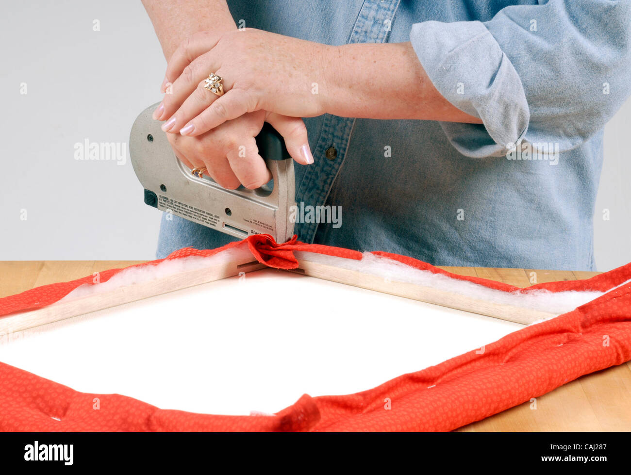 Step 2 Staple Fabric Over The Batting And Onto Canvas Frame How To Make A French Memo Board January 2008 Sacramento Bee Florence Low