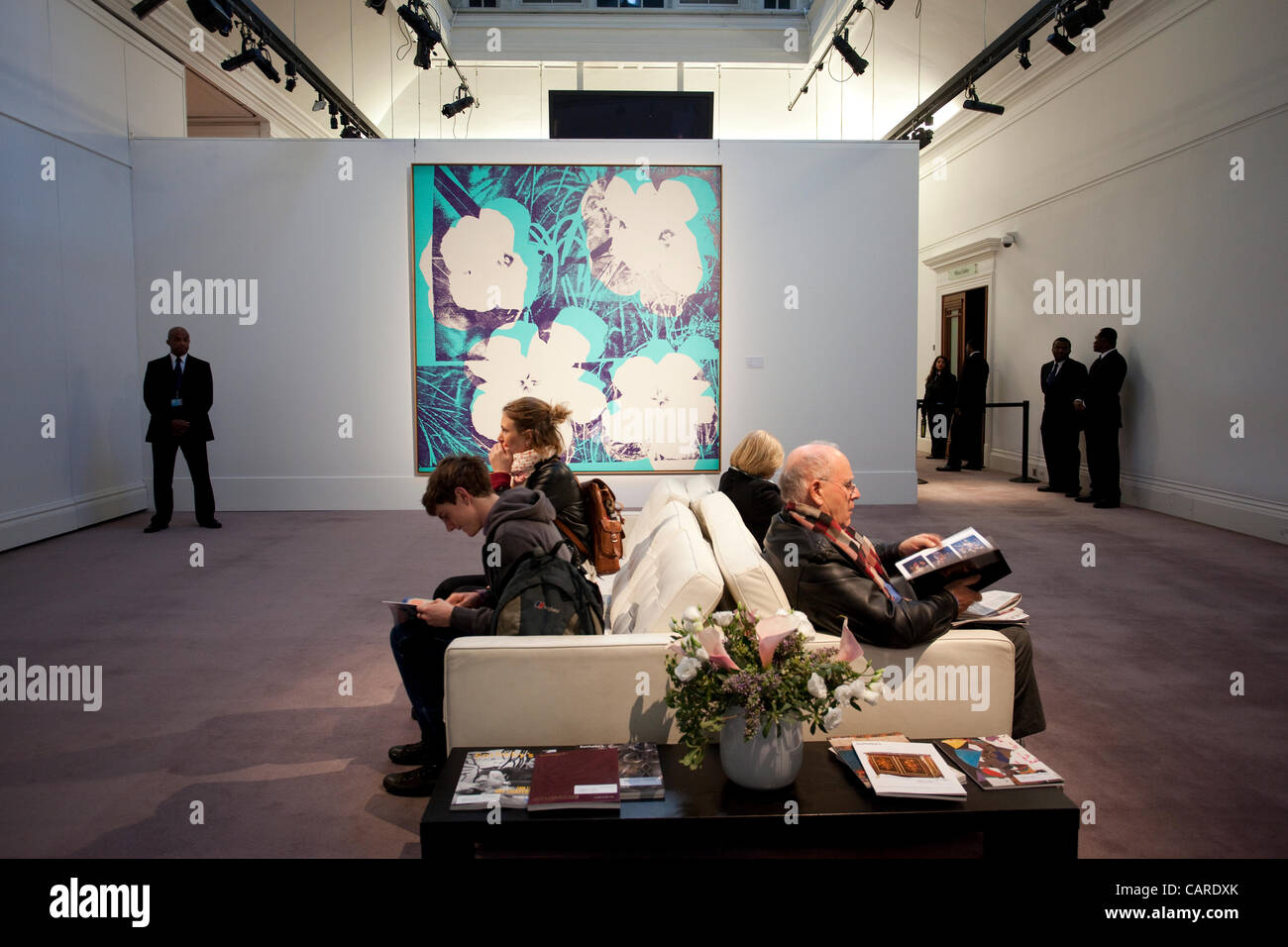 New york usa 11th nov 2015 telephone bidders stand in front of the - 13 04 2012 Picture Shows Andy Warhol S Ten Foot Flowers On Public Display At Sotheby S