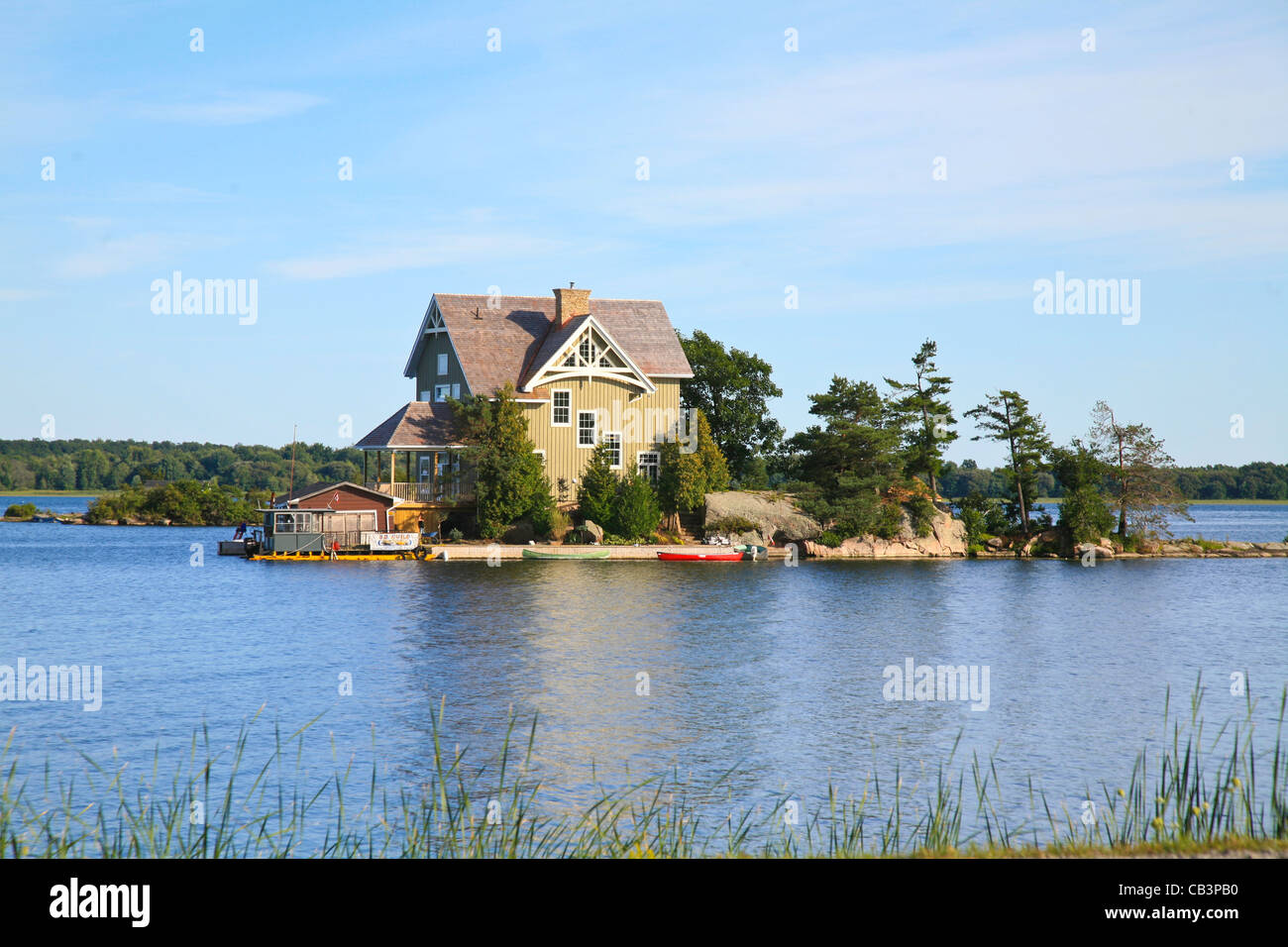 Stock Photo - Weekend Homes;Cottages;Homes;Retreat on isolated remote  Islands in Europe and Canada