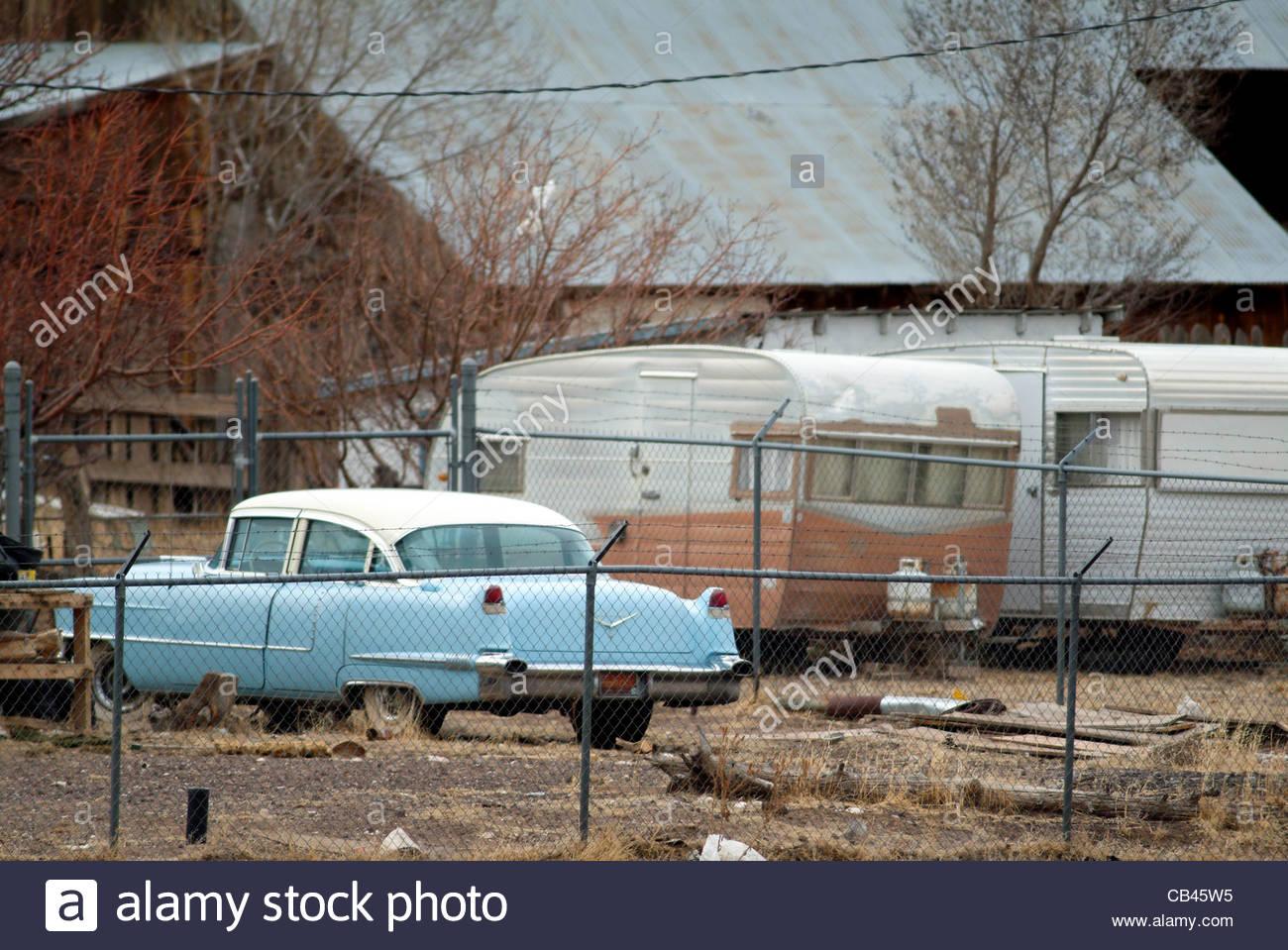 blue trailer vintage car retro caravan camper Stock Photo, Royalty ...