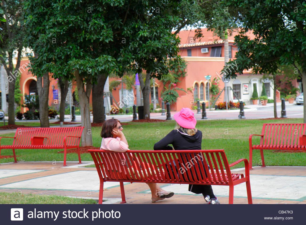 Delightful Public Park Benches Part - 10: Boca Raton Florida Sanborn Square Public Park Benches Woman Talking
