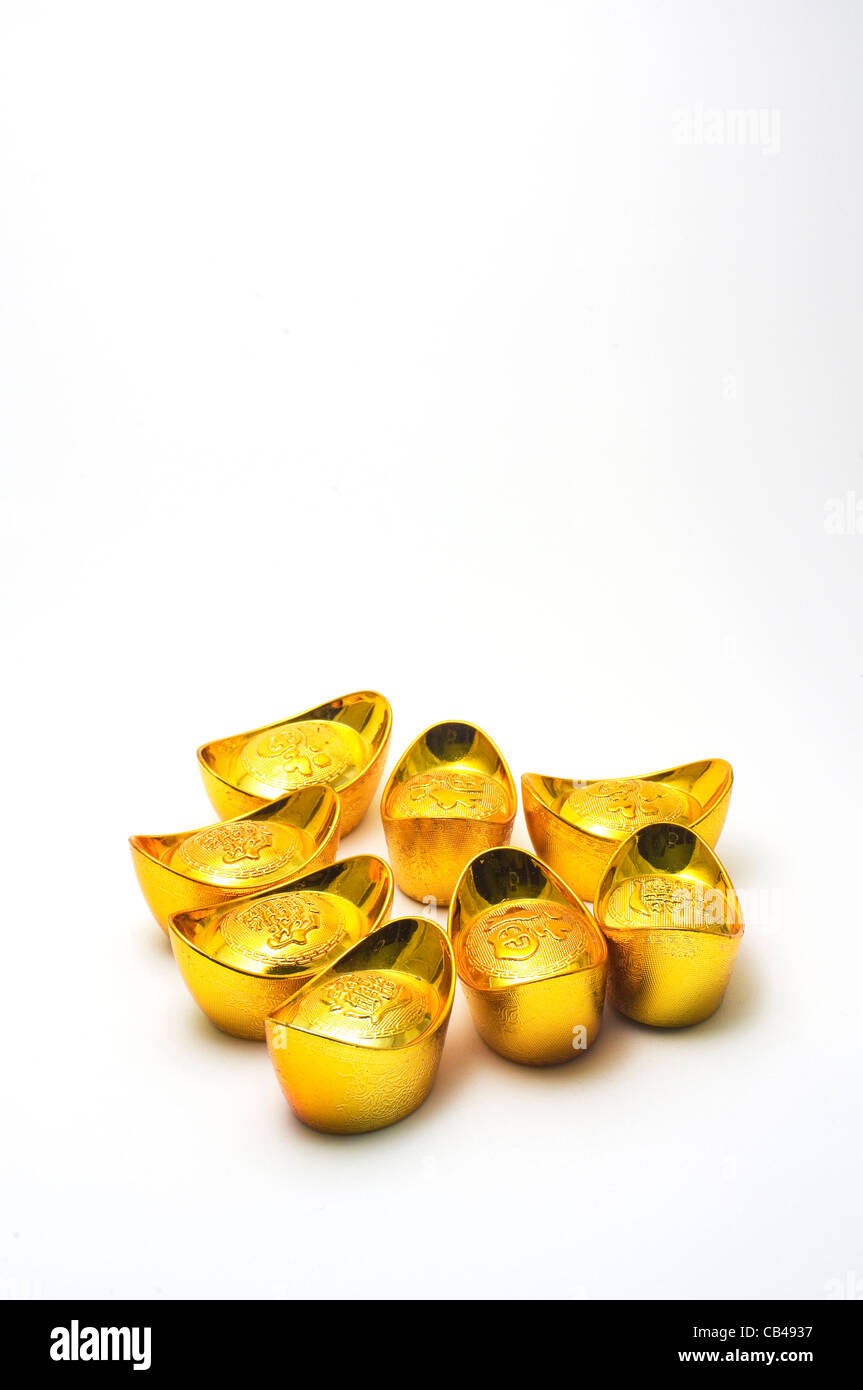 Chinese gold ingots a symbol of wealth for chinese stock photo chinese gold ingots a symbol of wealth for chinese buycottarizona Images