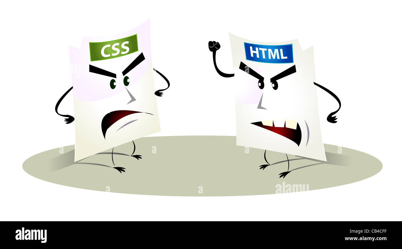 Illustration of cartoons html and css files representation having troubles together symbolizing 404 or 503