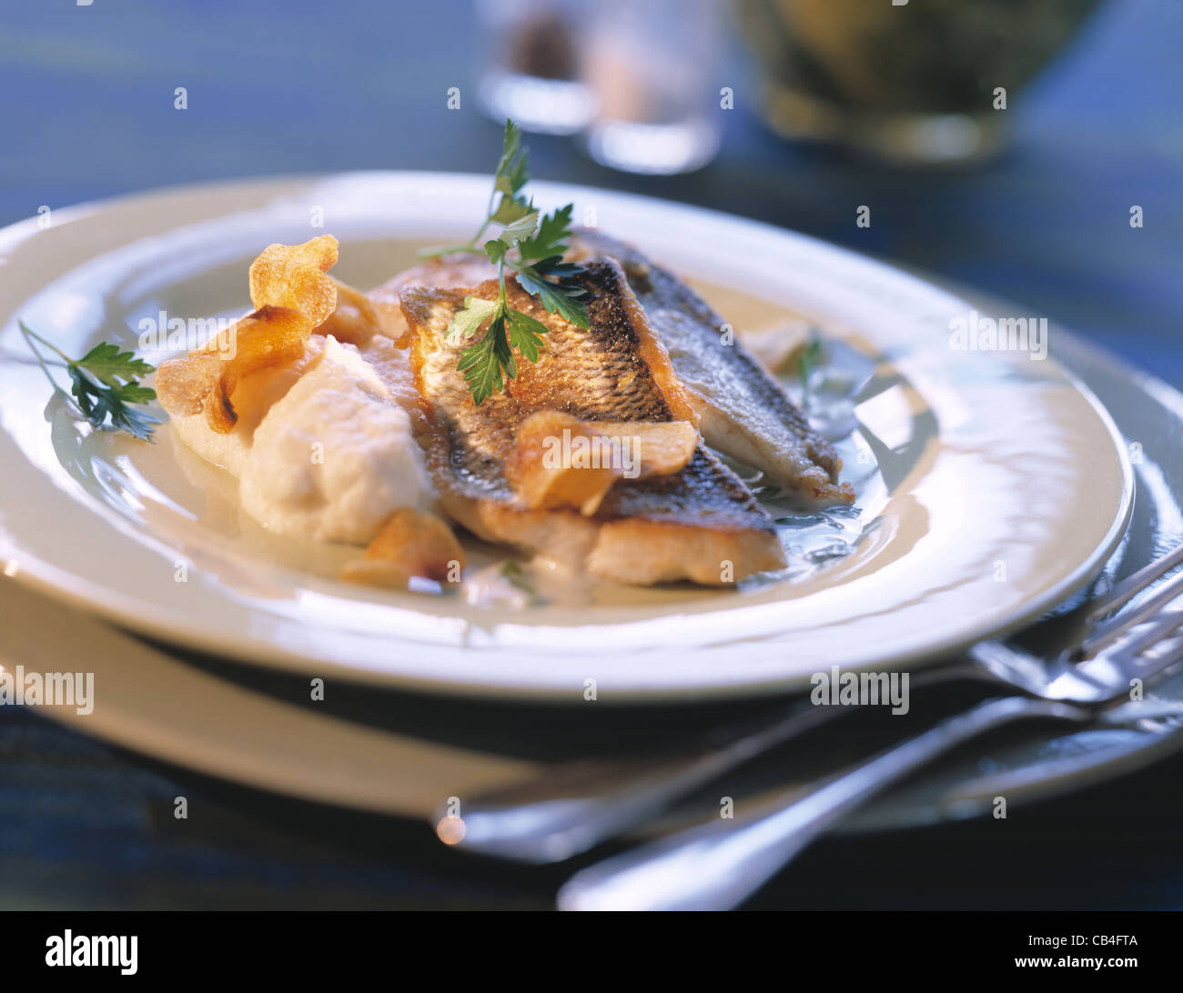 fillet of white fish with puree and chips of jerusalem artichoke stock photo 41282202 alamy. Black Bedroom Furniture Sets. Home Design Ideas