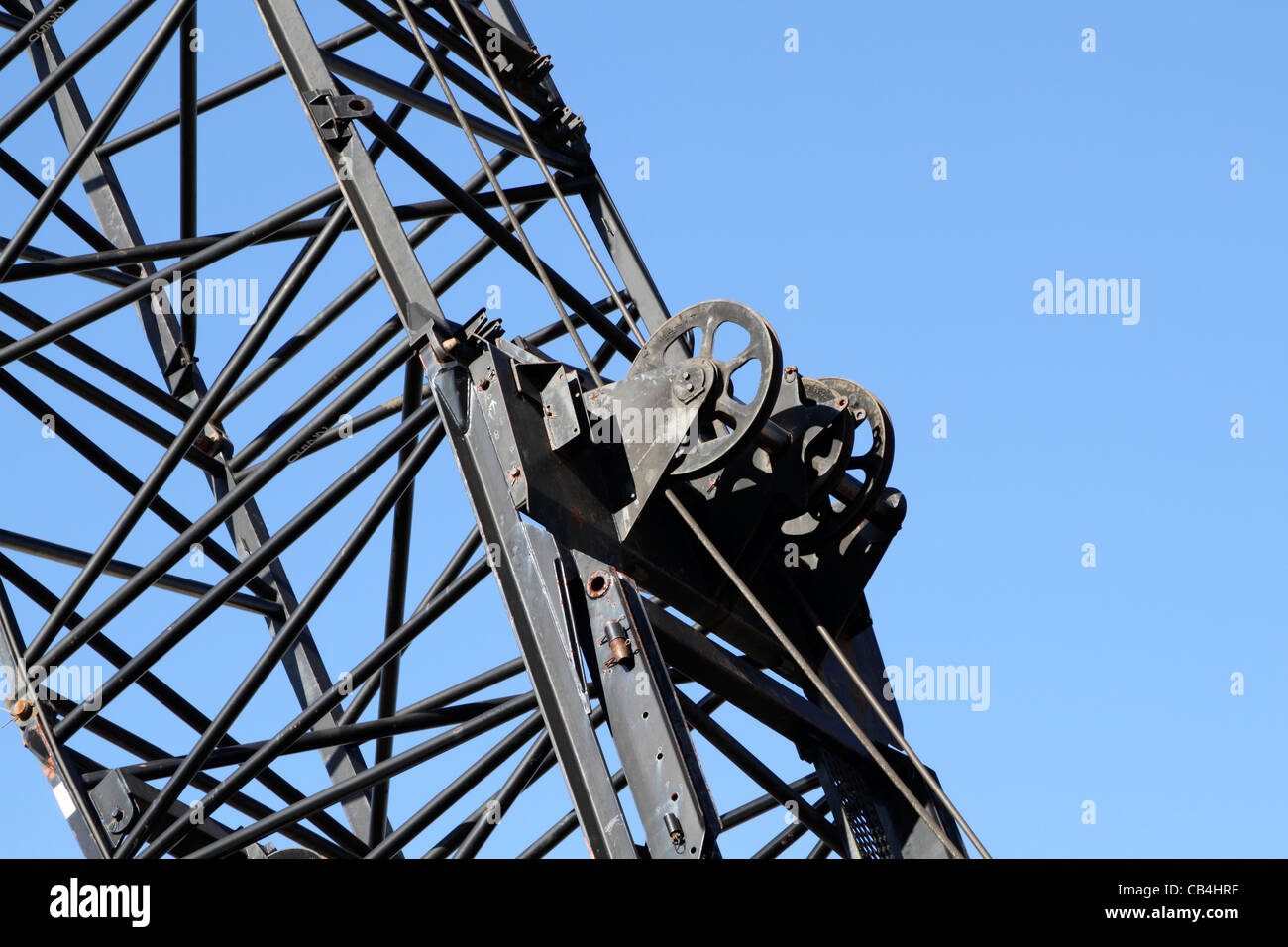 Pulleys In Cranes : Close up of pulleys on a construction crane stock photo