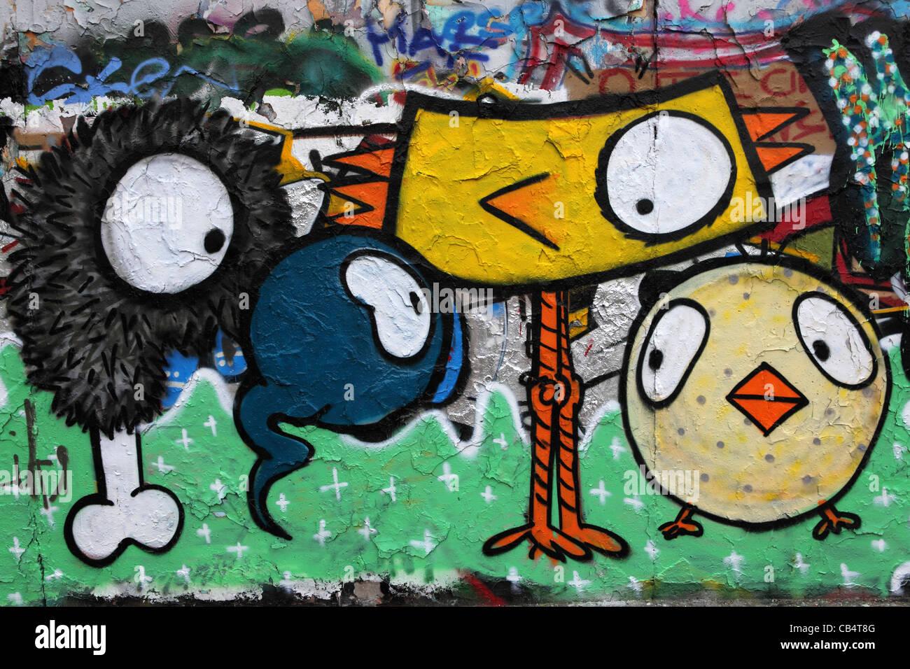 Grafiti wall berlin - Cartoon Like Graffiti On A Remnant Of The Berlin Wall At The Mauerpark Wall