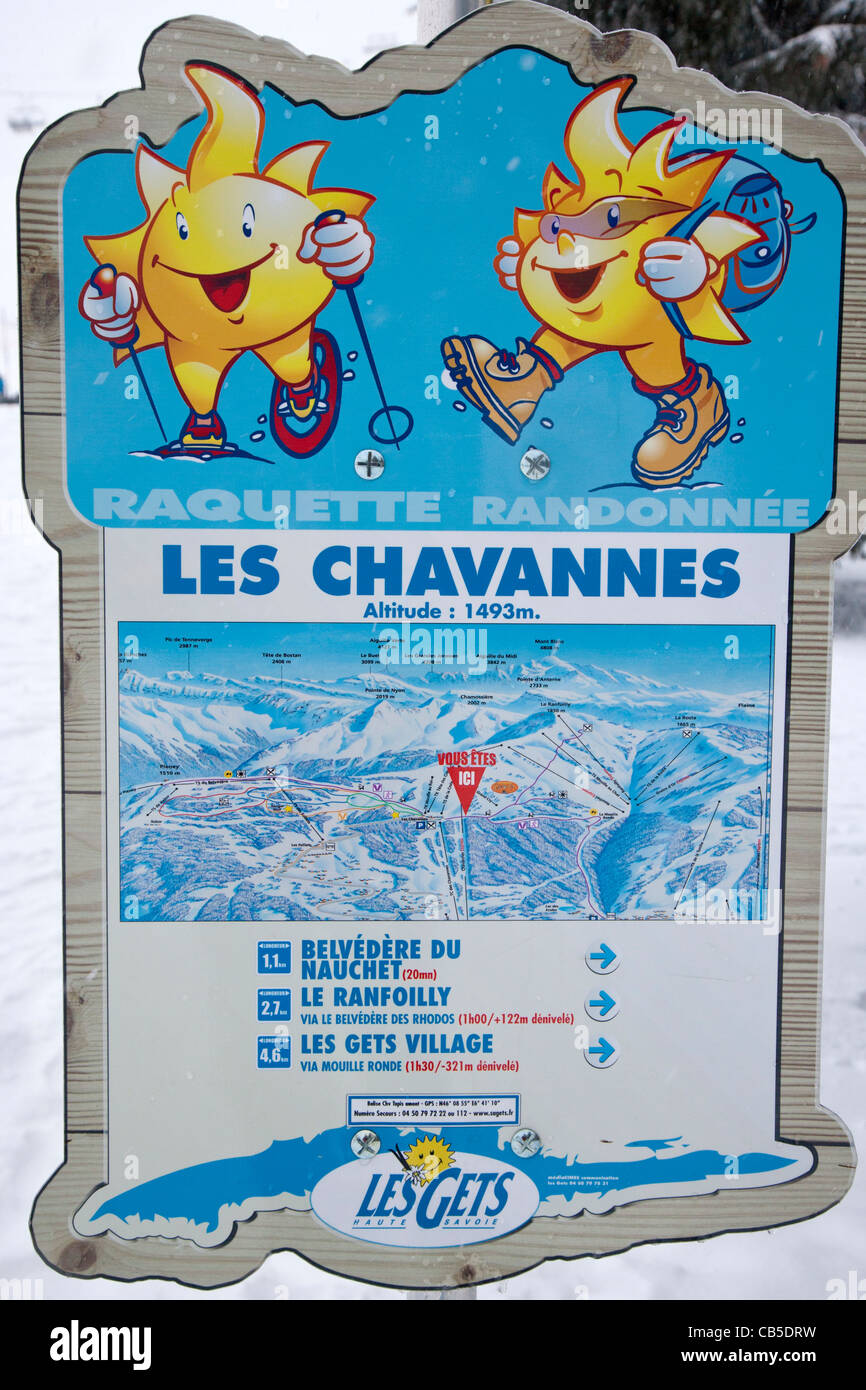 Ski map and characters Les Gets Haute Savoie RhneAlpes France