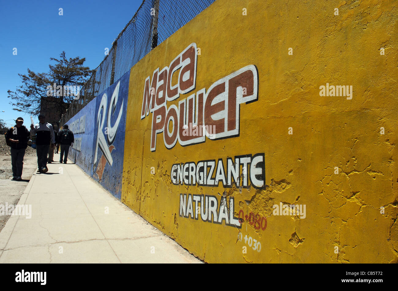 A sign on a wall in Peru to advertise Maca, a popular food and Stock ...