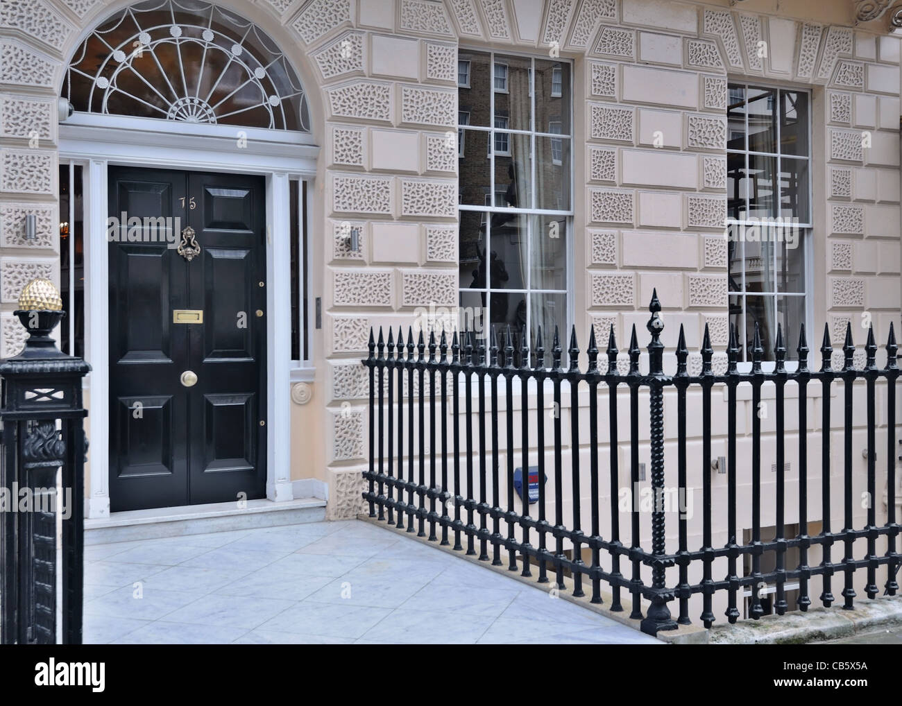 London: front door in a classic Victorian mansion. Portland Place ...