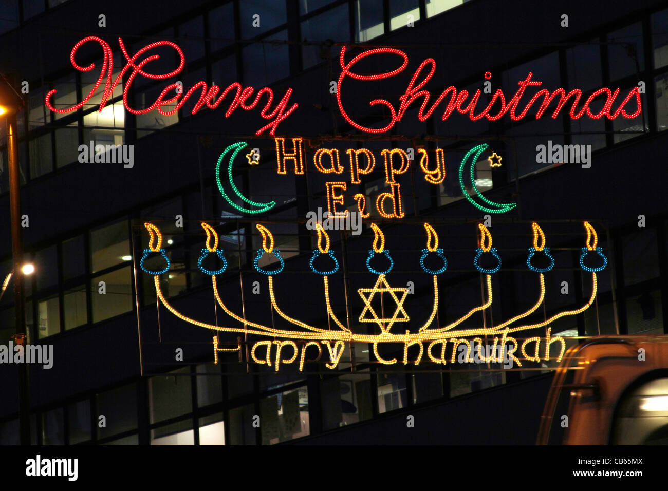 Christmas Lights, Merry Christmas, Happy Eid, Happy Chanukah Stock ...