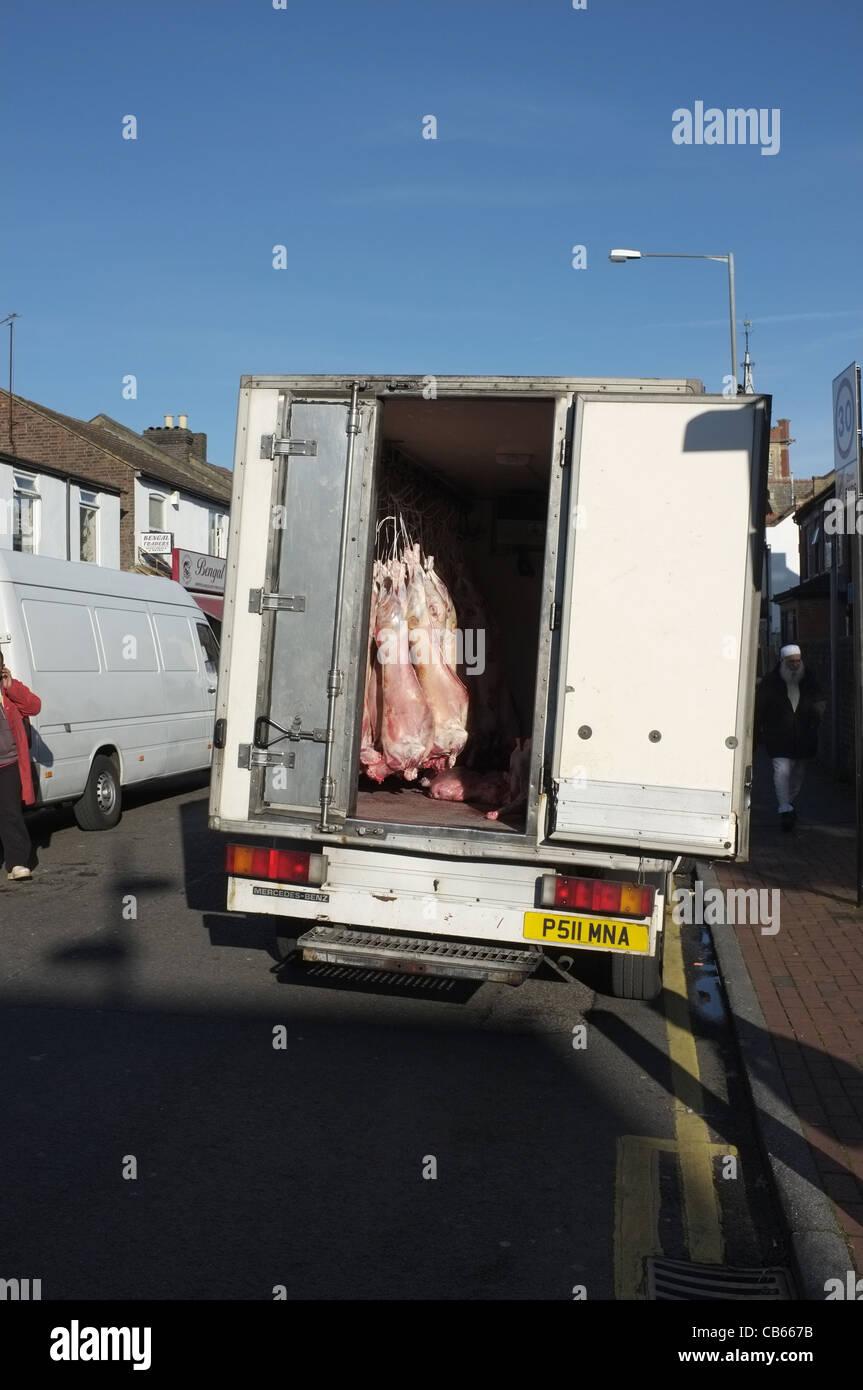 Halal Meat Delivery Truck With Door Left Open In Luton