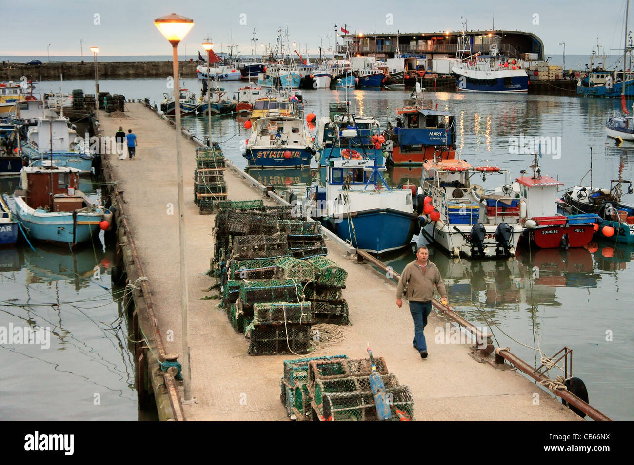The fishing harbour quays docks of the North Sea seaside resort Stock Photo, Royalty Free Image ...