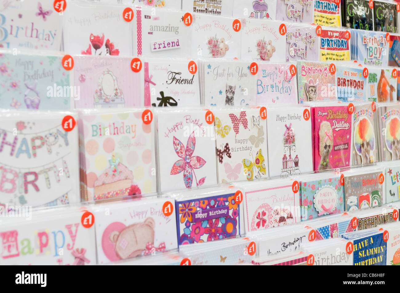 Shelves of Birthday Cards in a Tesco Store Photo Royalty – Birthday Cards Store