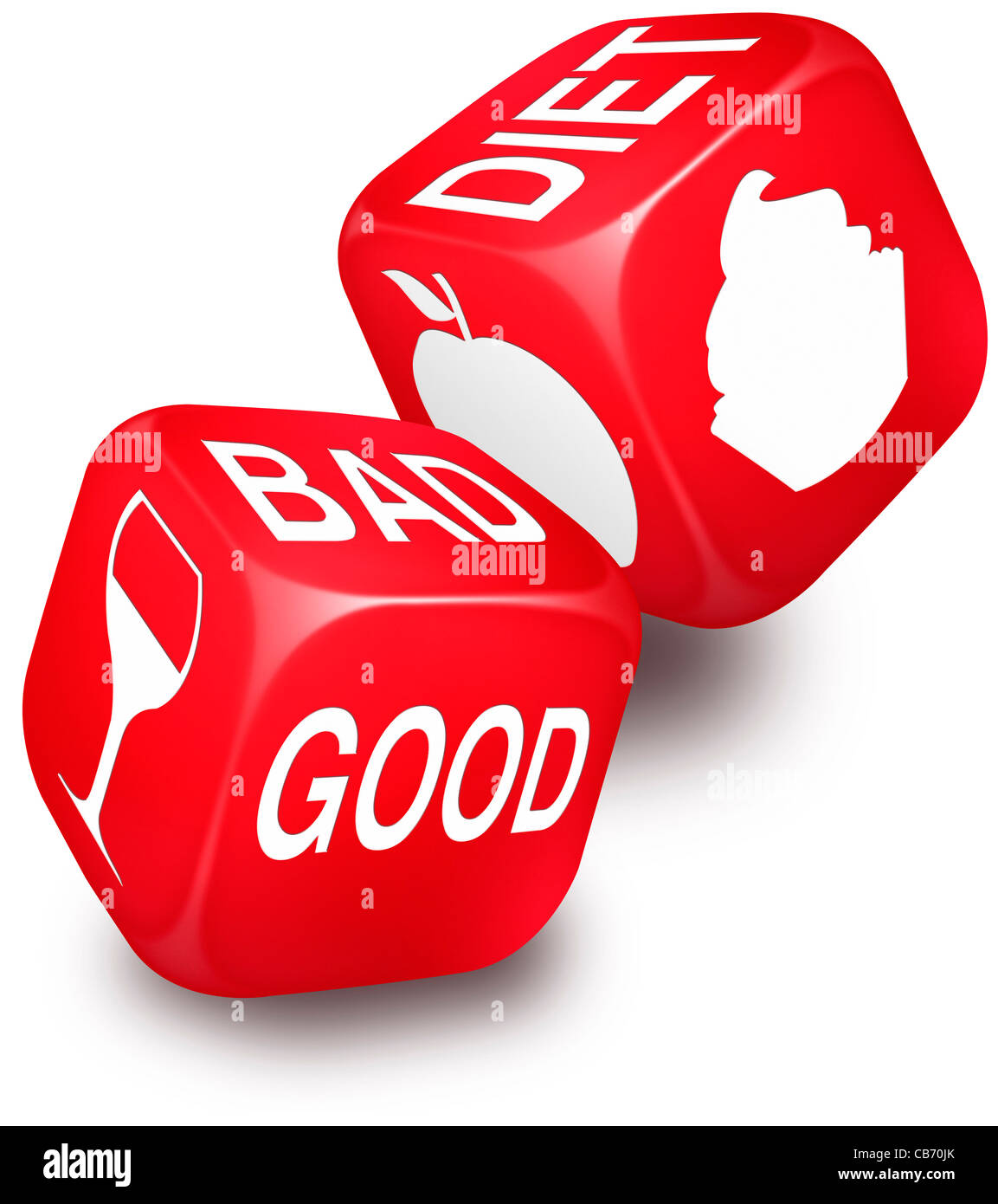 Pair of red dice with the words good bad and diet and the symbols pair of red dice with the words good bad and diet and the symbols for wine an apple and a cupcake printed on its sides biocorpaavc Gallery