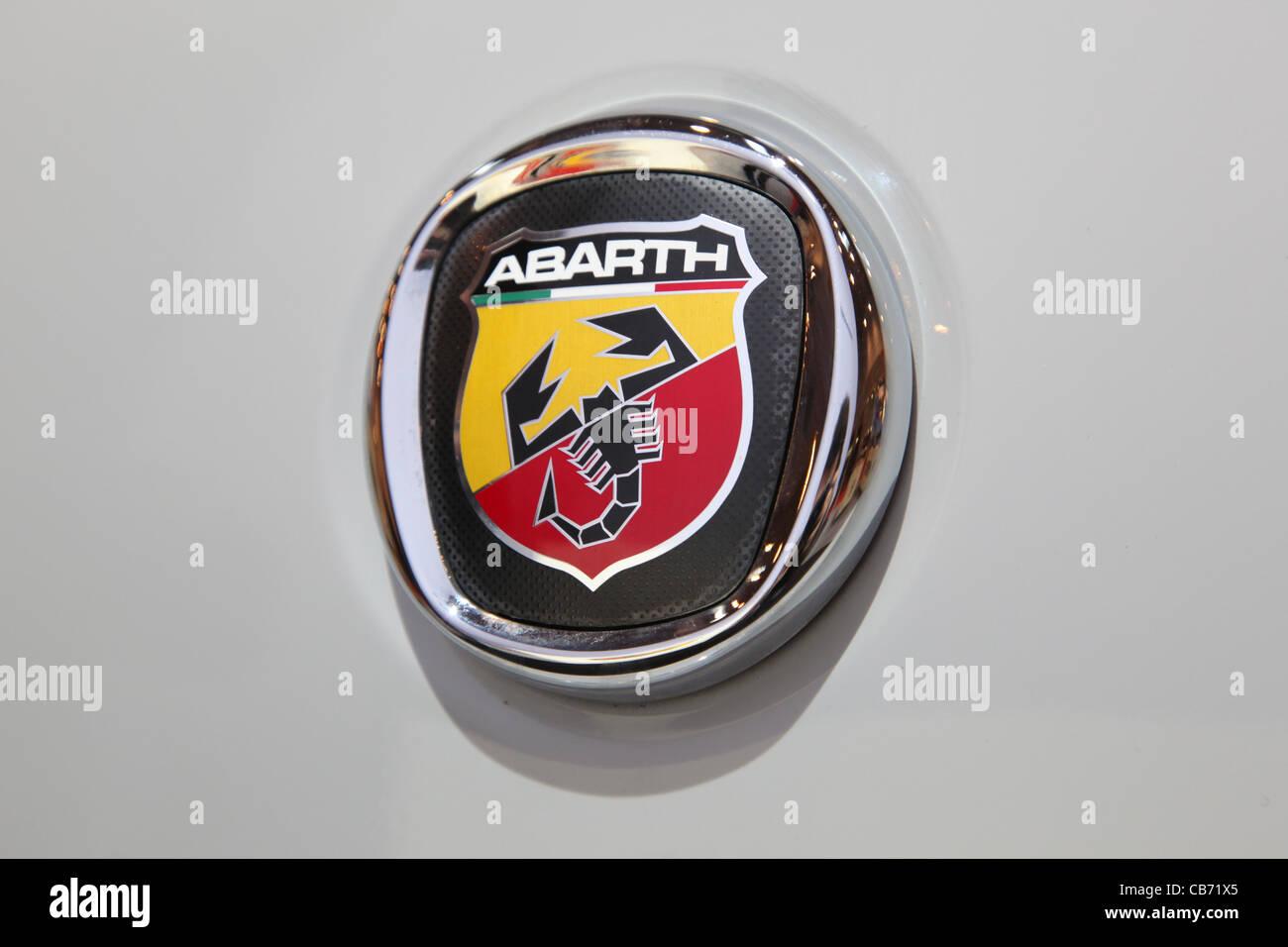 fiat abarth logo shown at the essen motor show in essen. Black Bedroom Furniture Sets. Home Design Ideas