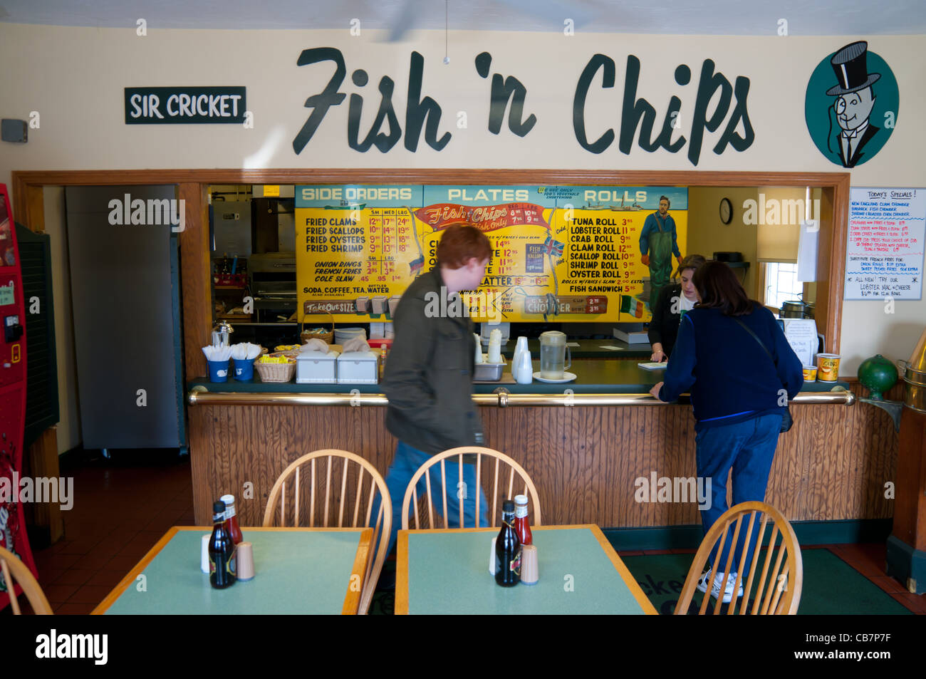Fish and chips restaurant interior chatham cape cod stock for Fish chips restaurant