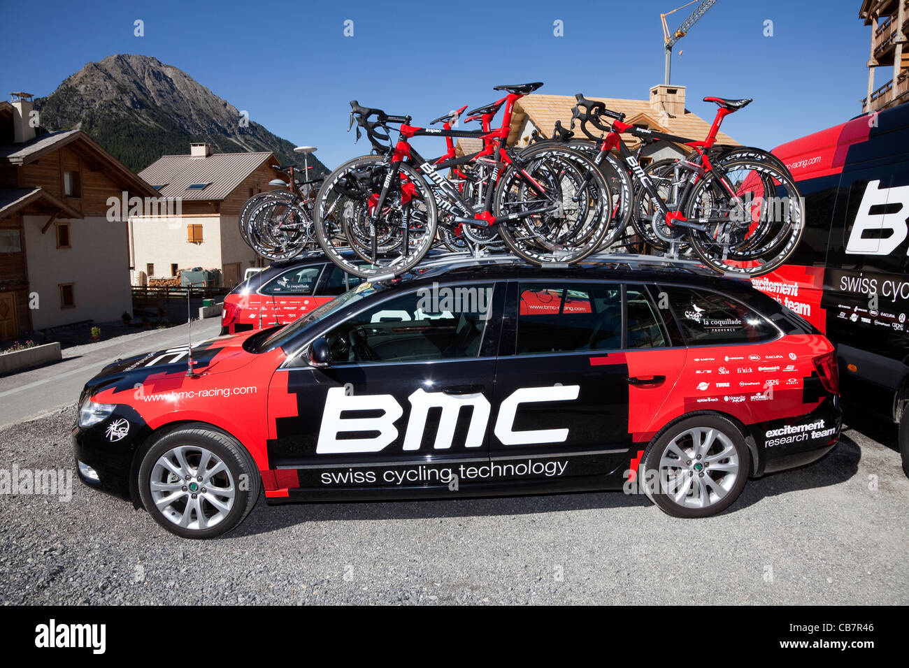 bmc professional cycling team car with team bicycles on top stock photo royalty free image. Black Bedroom Furniture Sets. Home Design Ideas