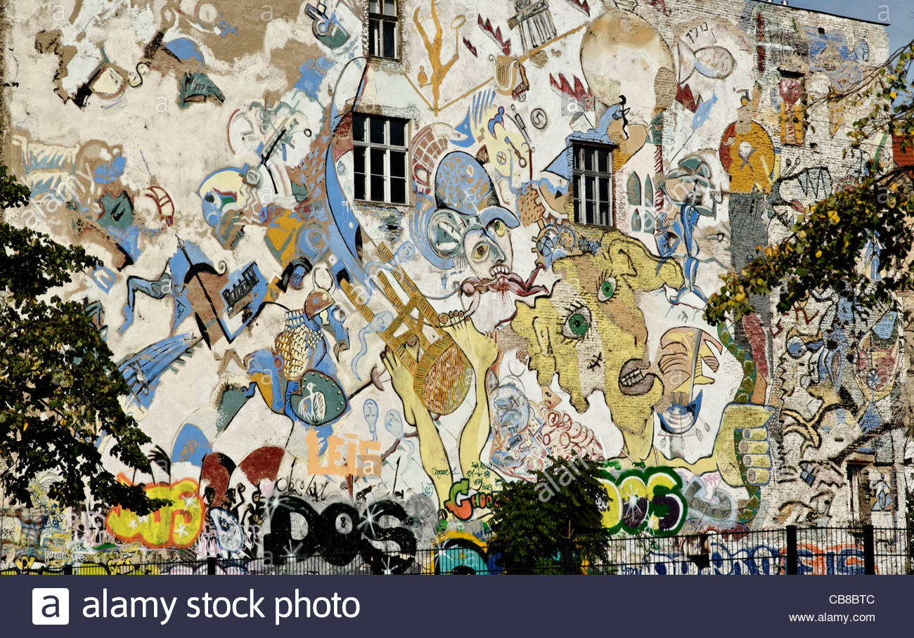 Stock photo graffiti style mural on the rear wall of the kunsthaus tacheles art house tacheles in berlin