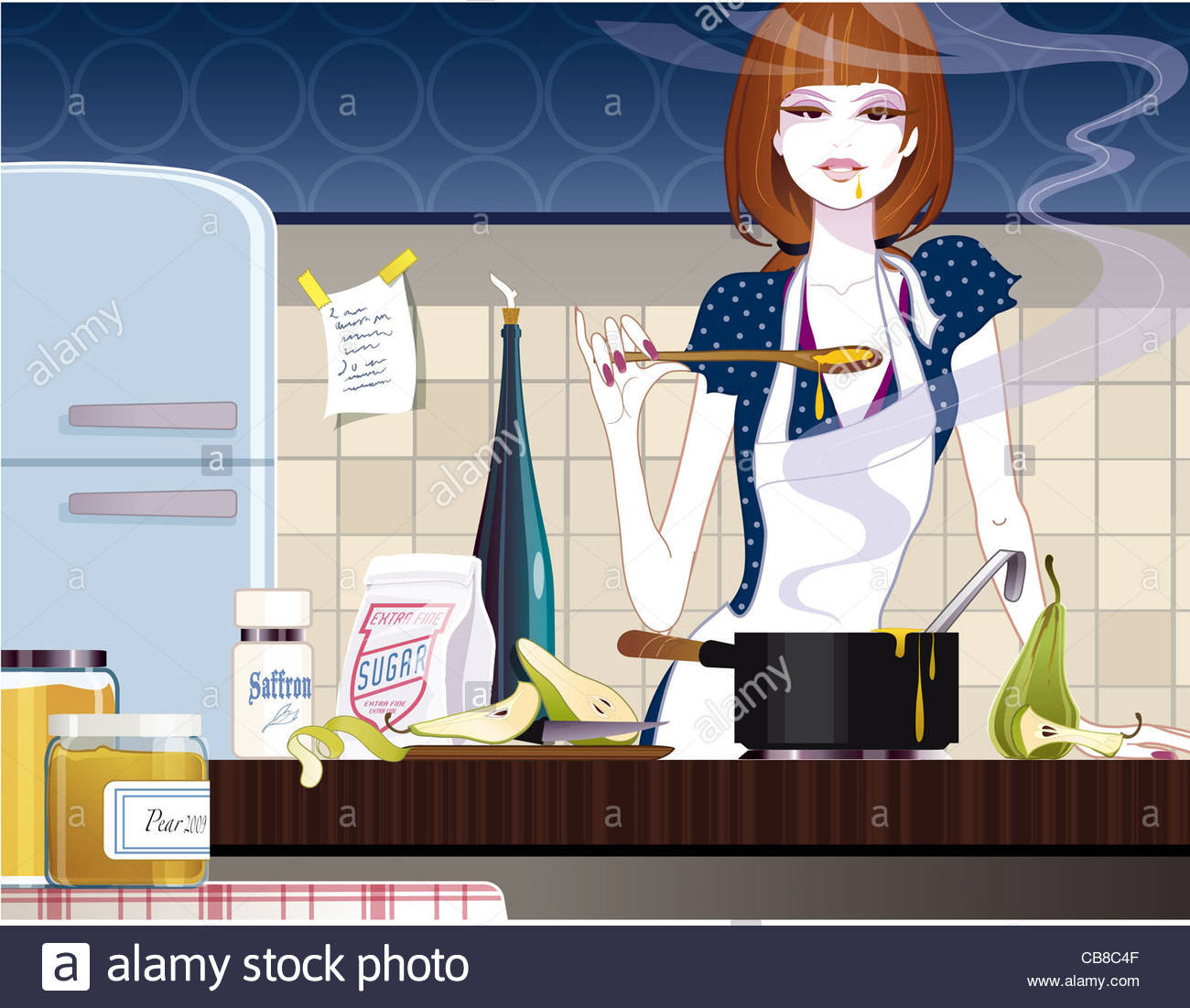 Selection of cartoons on cooking kitchens food and eating - Stock Photo Jam Cooking Kitchen Woman Pears Eat Food Nutrition Ernhrung Food Food Cooki