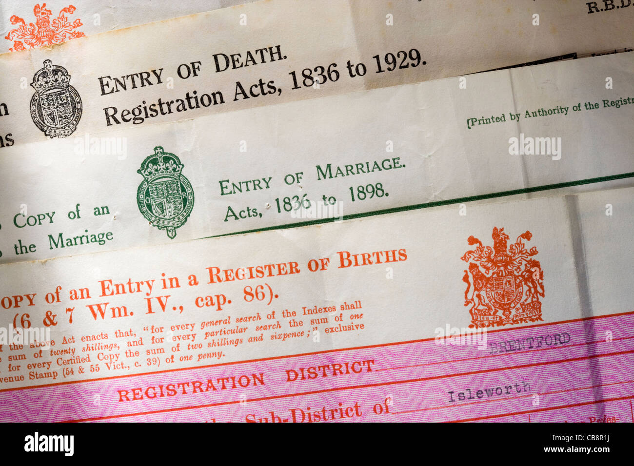 Old birth death and marriage certificates uk stock photo old birth death and marriage certificates uk aiddatafo Gallery
