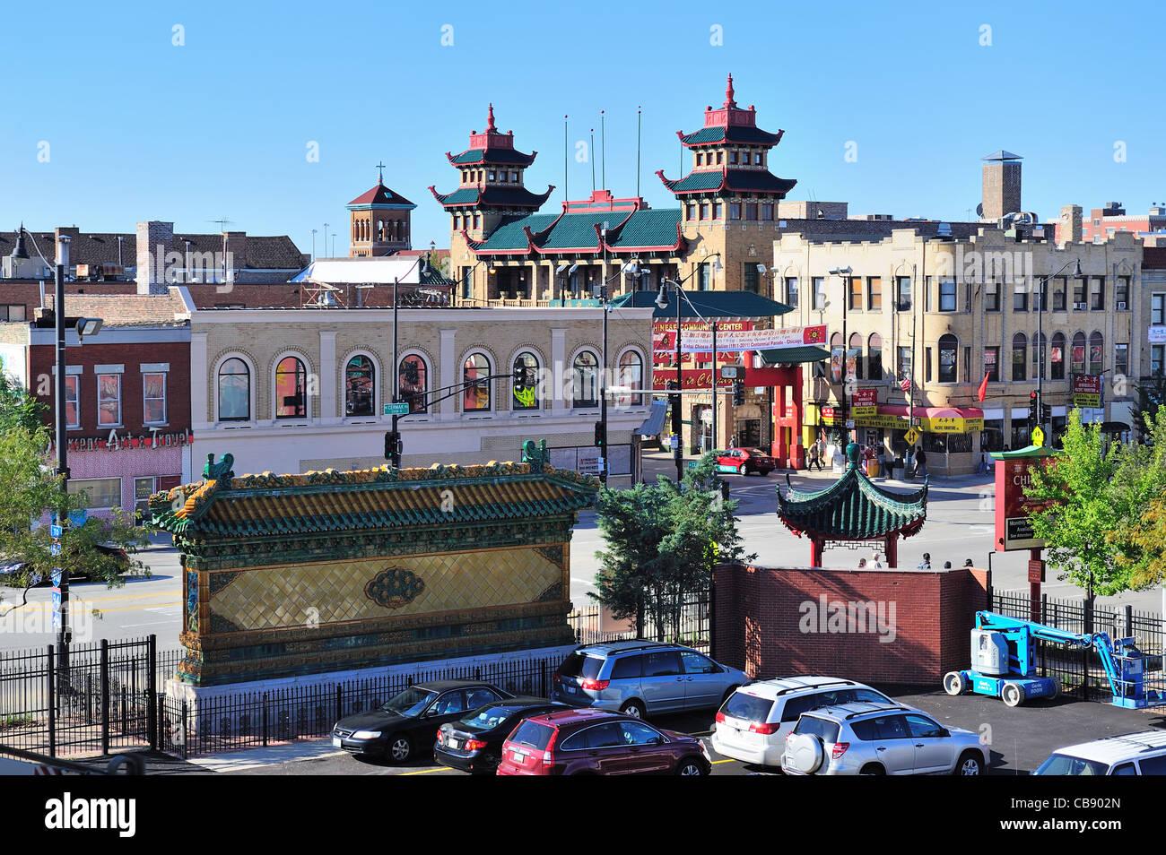Chicago chinatown street stockfoto lizenzfreies bild for Chinatown mural chicago