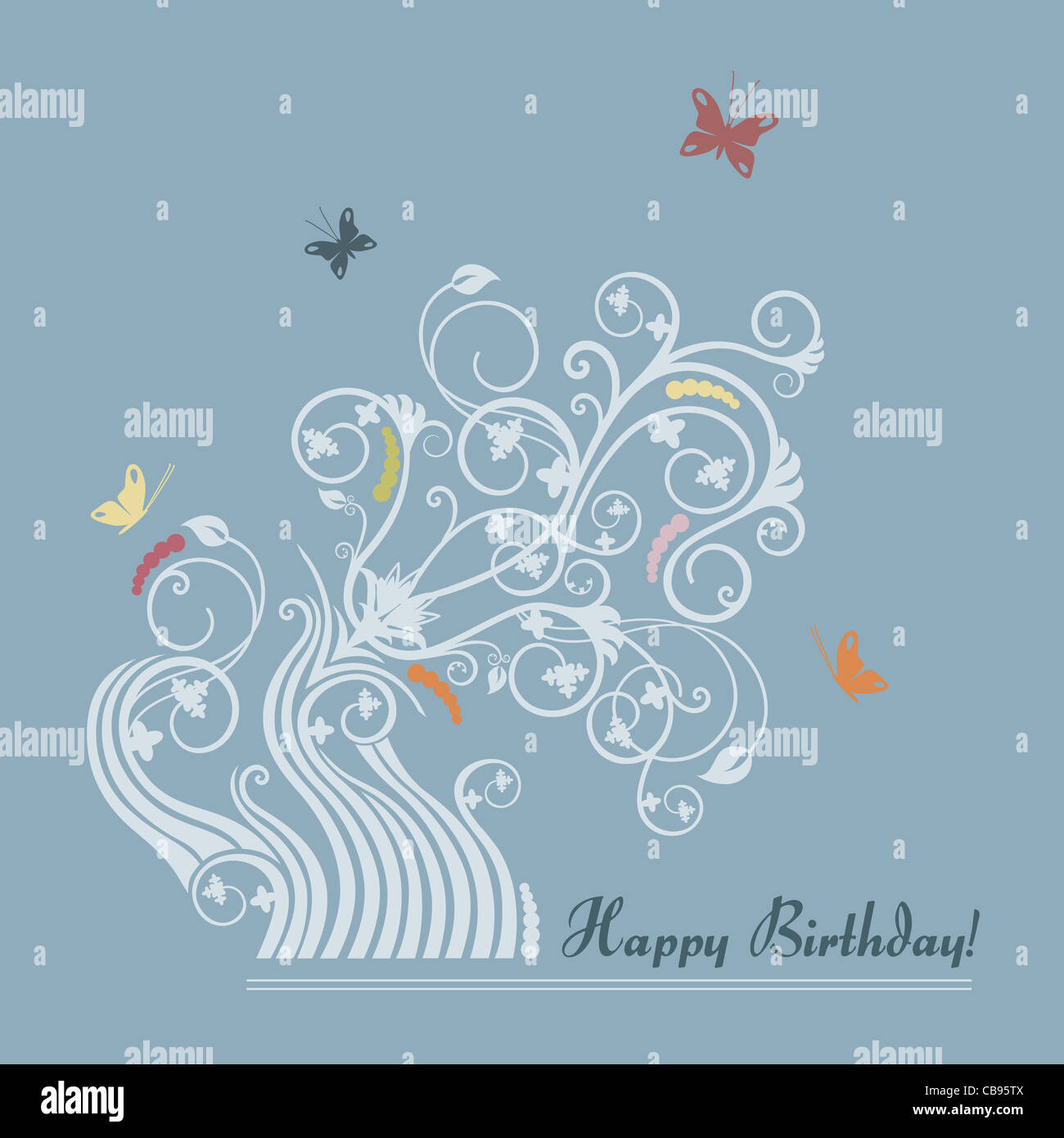 Light Blue Feminine Happy Birthday Card With Flowers And