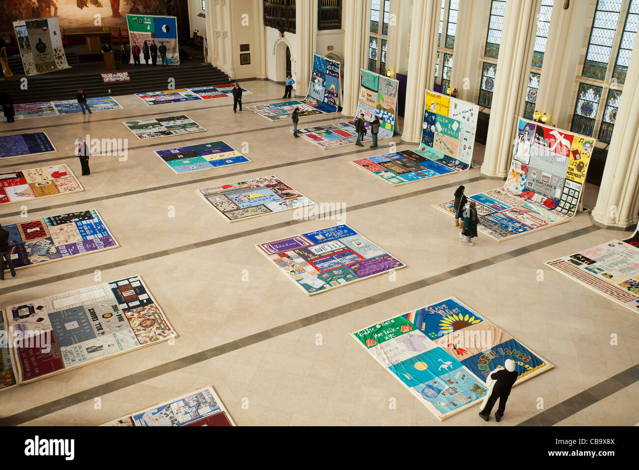The AIDS Memorial Quilt on display in City College of New York in ... : world aids day quilt - Adamdwight.com