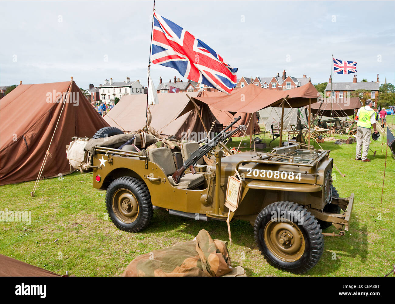 Ww2 Jeep For Sale >> Restored and preserved WWII-vintage Willys Jeep with mounted Bren gun Stock Photo, Royalty Free ...