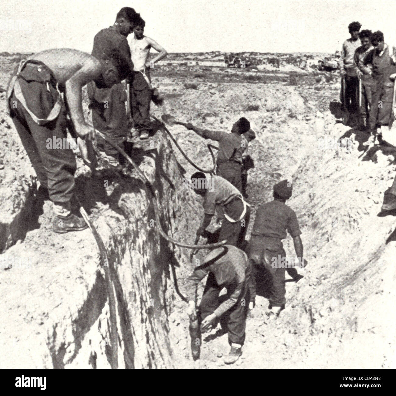 Sappers working on the defensive Mareth line in Tunisia during ...