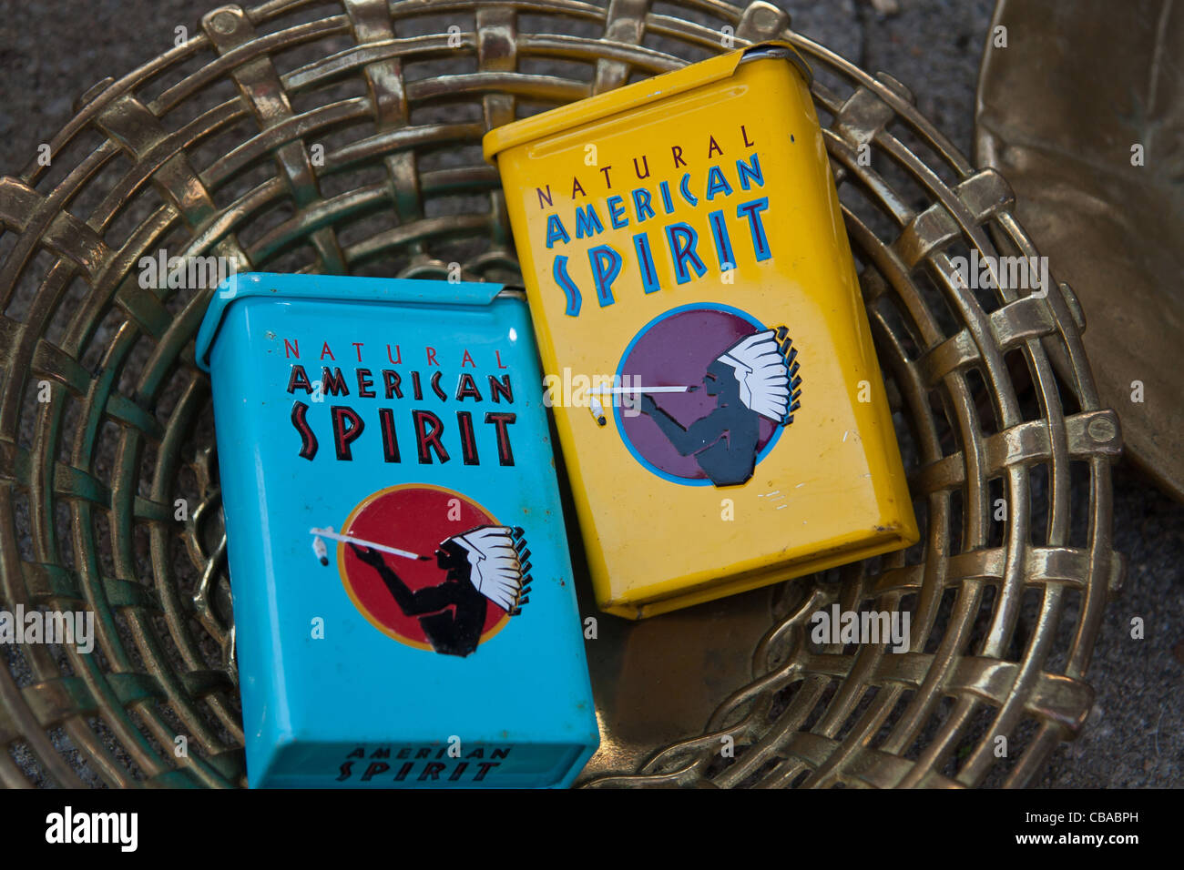 natural american spirit vintage metal box of cigarettes on flea stock photo royalty free. Black Bedroom Furniture Sets. Home Design Ideas