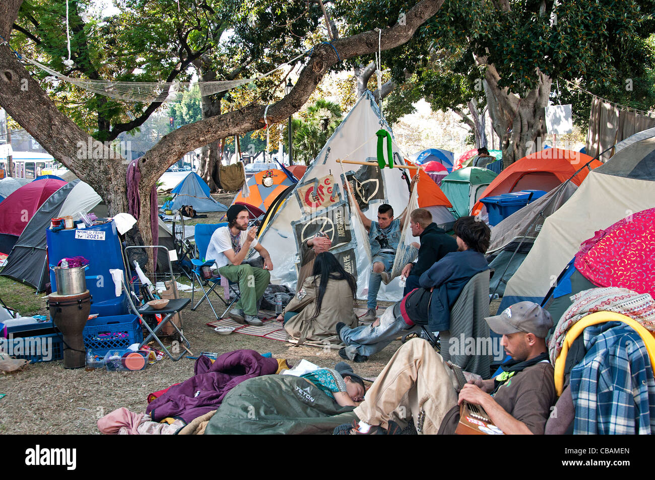 Occupy Wall Street Protest LA Downtown in front of City Hall Los Angeles United States California & Tent City Usa Stock Photos u0026 Tent City Usa Stock Images - Alamy