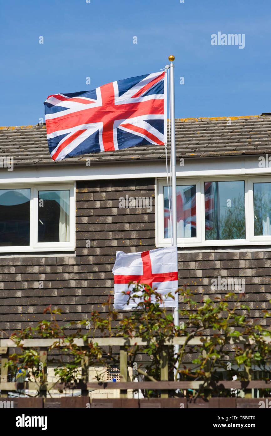 union jack british flag and st george u0027s cross england flag