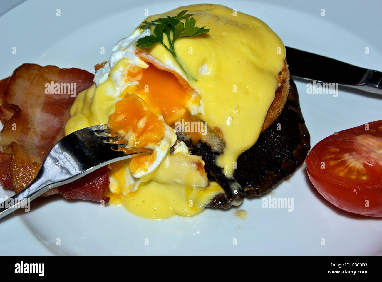 Eggs Benedict Breakfast Bacon Egg Bernaise Sauce Toasted English