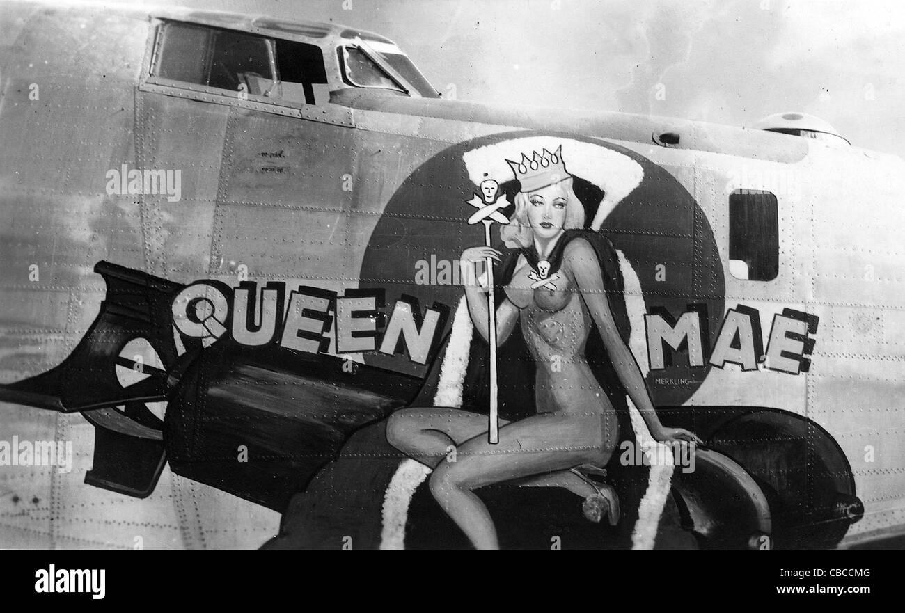 WW11 USAAF B24 Liberator nose art Queen Mae Stock Photo, Royalty ...