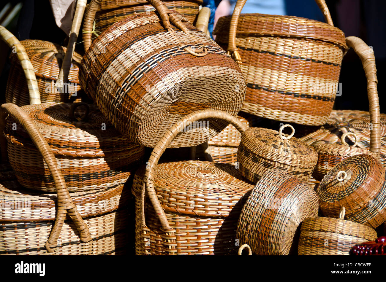 Traditional Basket Making : Dominica carib indian traditional woven baskets stock