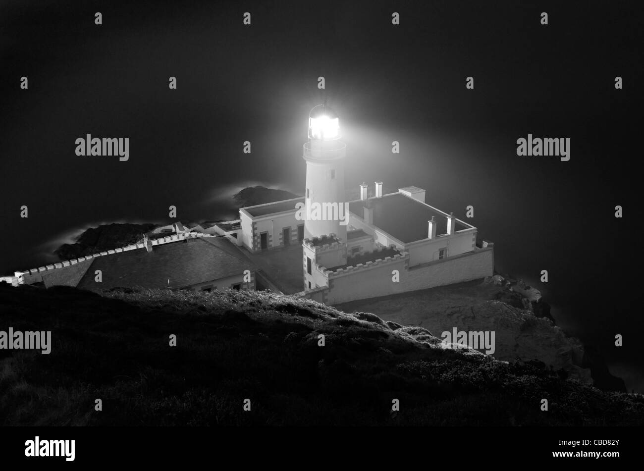 Spooky Douglas Head Lighthouse at Night on the Isle of Man ...