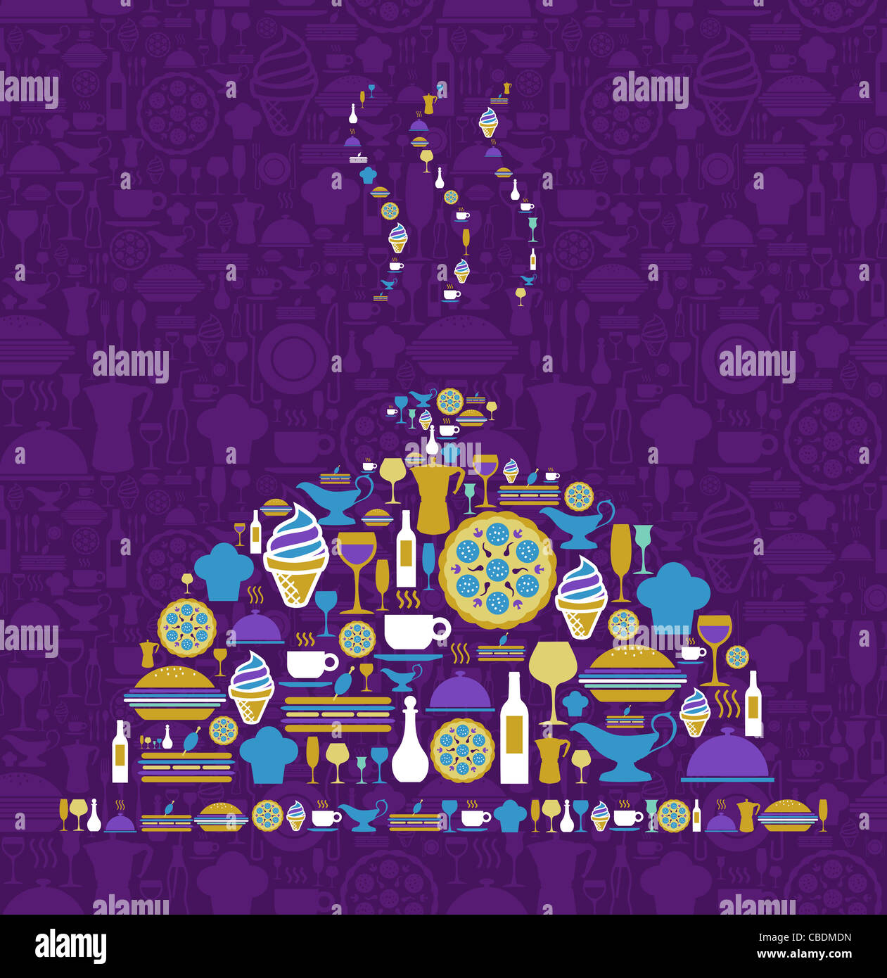 Background image mdn - Stock Photo Tray Shape Made With Gourmet Icon Set On Violet Background Vector File Available