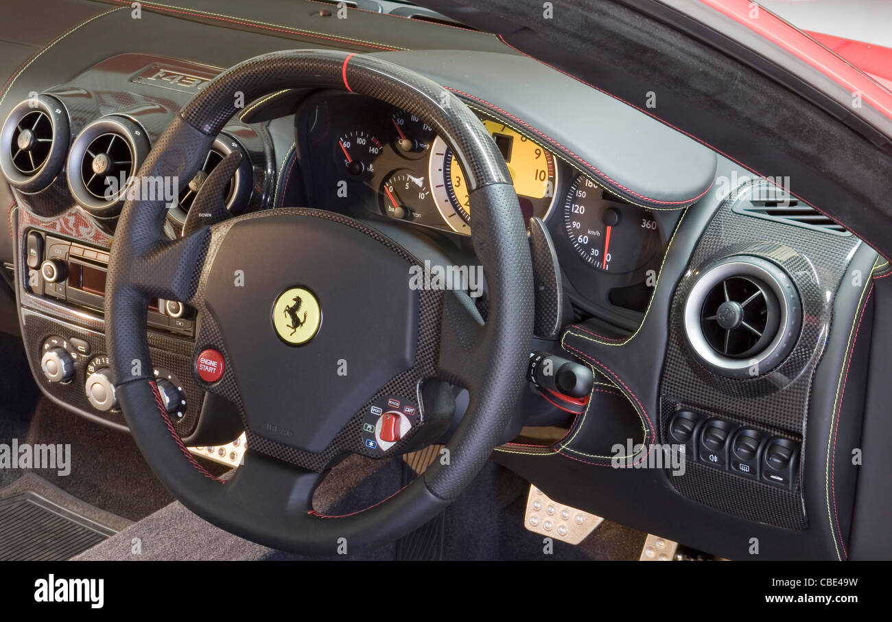 Ferrari Steering Wheel And Dashboard Stock Photo Royalty