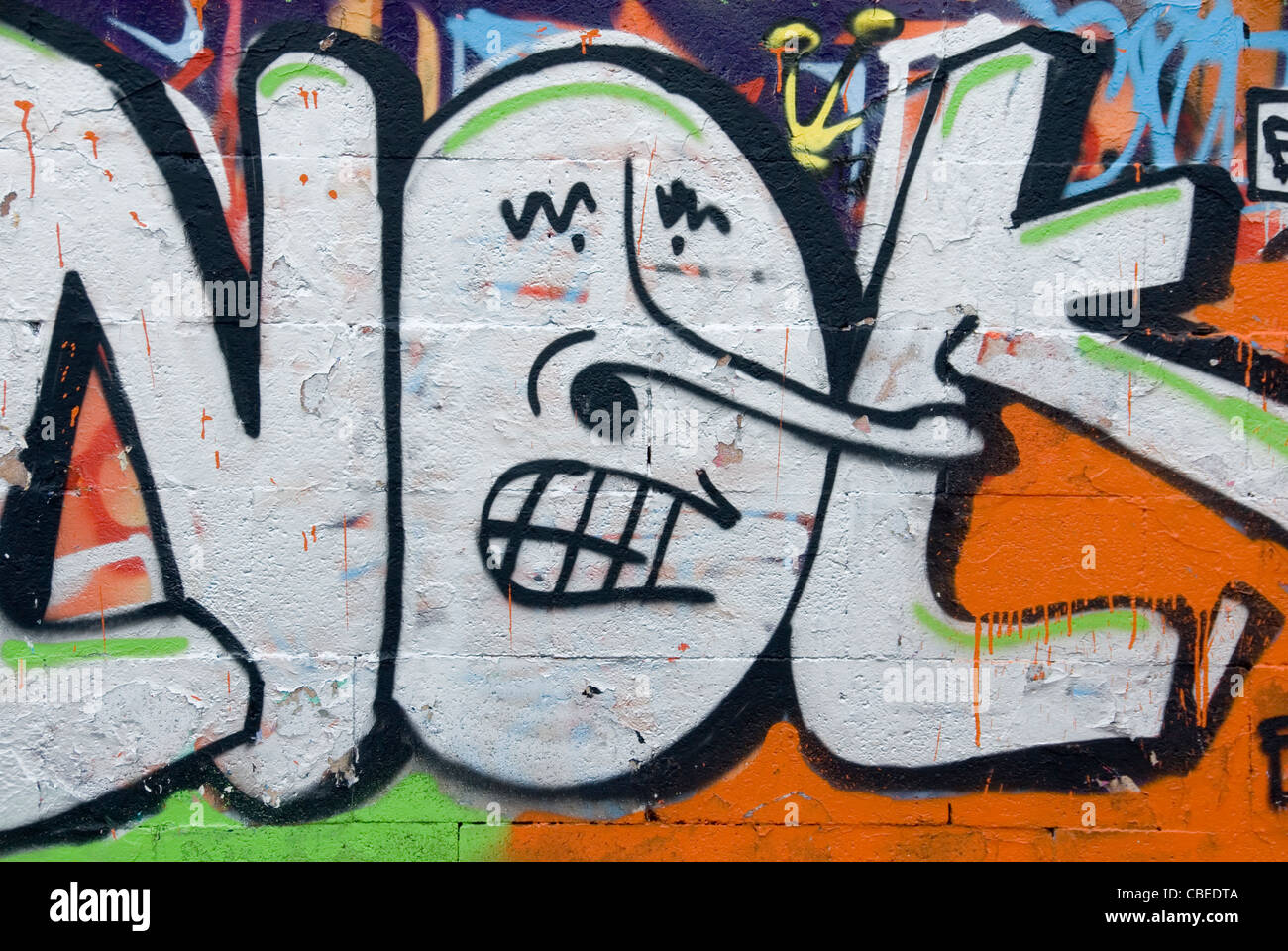 Letter O Wall Art Close Up Funny Face In Letter O Of Not Graffiti Art Mural On Wall