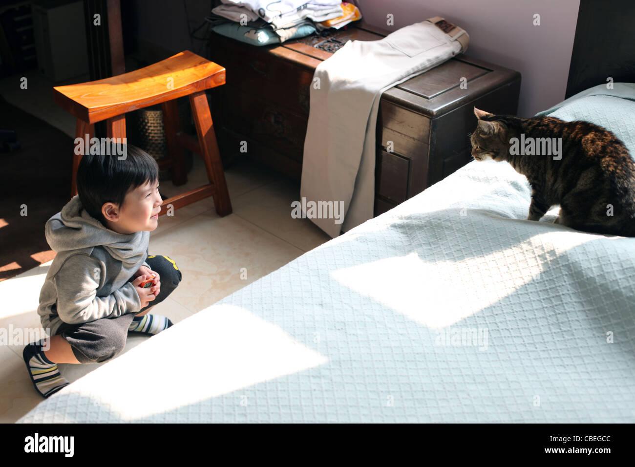 Kid Looking Under Bed