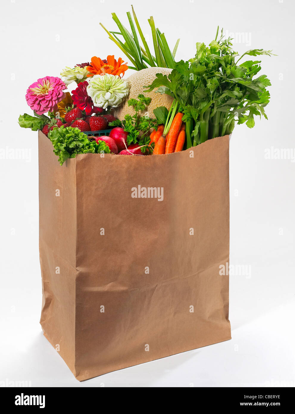 Brown Paper Grocery Bag With Fruits & Vegetables Stock Photo ...