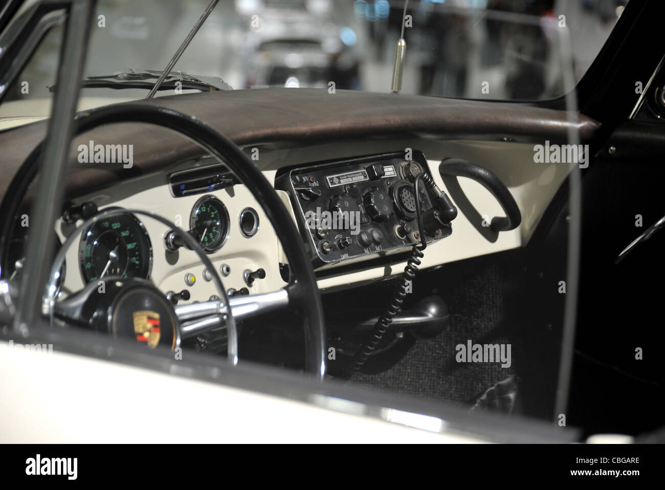 porsche 356 c police polizie liveried car interior showing radio as stock photo royalty free. Black Bedroom Furniture Sets. Home Design Ideas