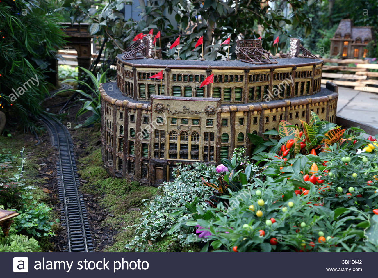 Bon The Holiday Train At The Bronx Botanical Gardens, The New York Landmarks  Are All Made Out Of Bark, Nuts And Wood