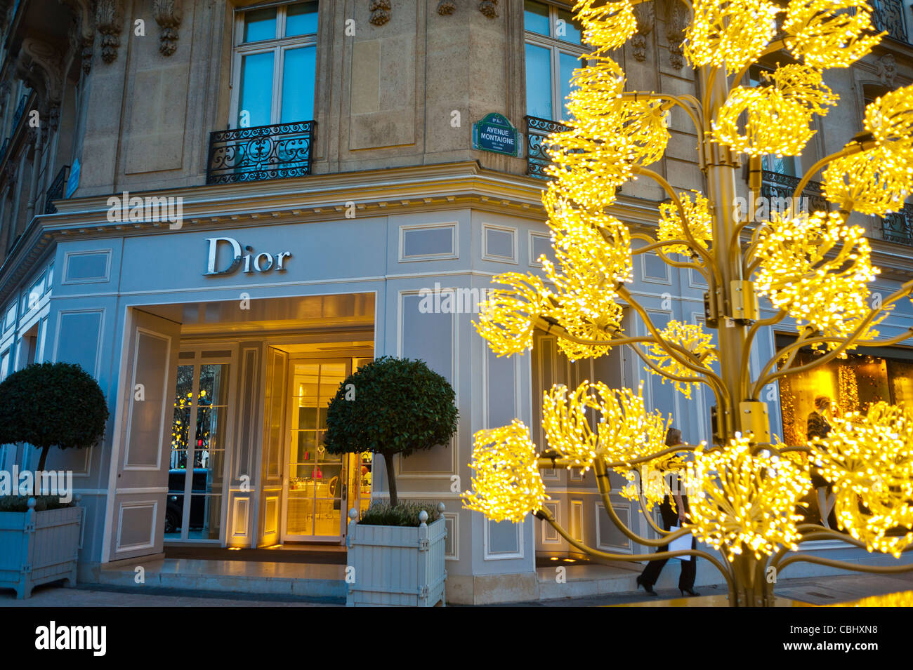 paris france luxury christmas shopping dior store entrance with led christmas lights tree decorations on street - Christmas Lights Store
