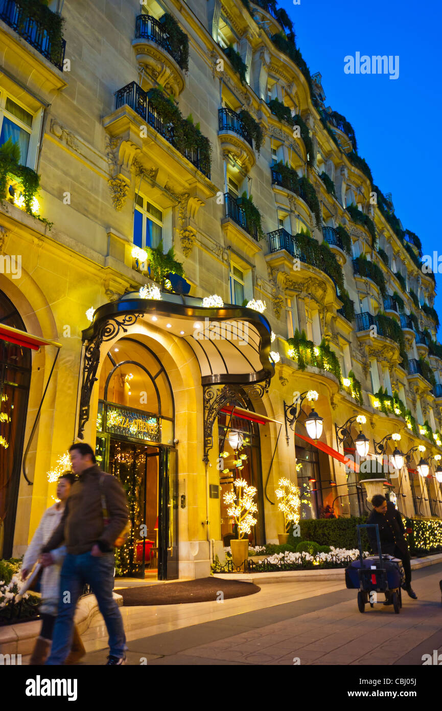 Paris France Luxury Plaza Athenee Hotel Outside Front Entrance At Night